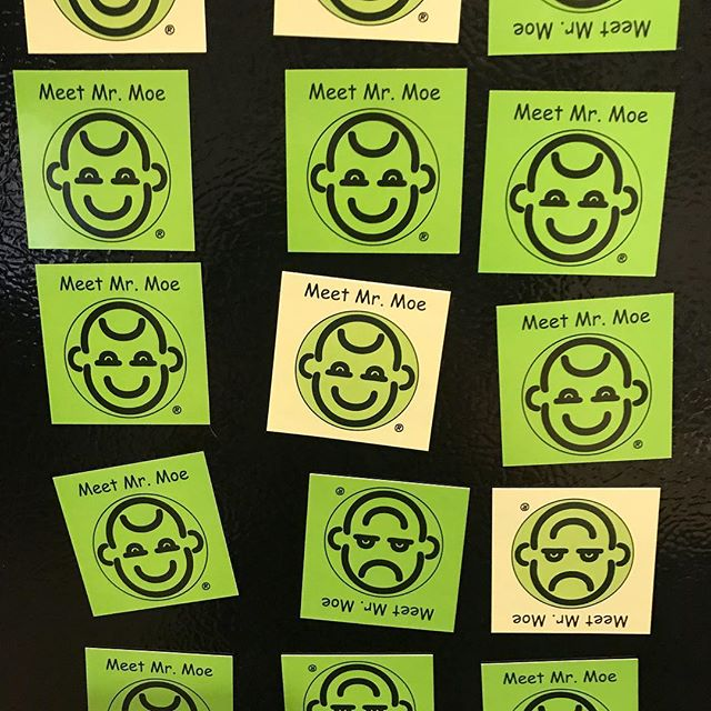Mr moe magnets made for the play therapy convention that I'm a vendor at in 2 weeks!! In Phoenix .  Come see me  # playtherapy #councelling #turn that frown inside down #depression #bullys #happy #sad #anxiety worry #fear #nonverbal