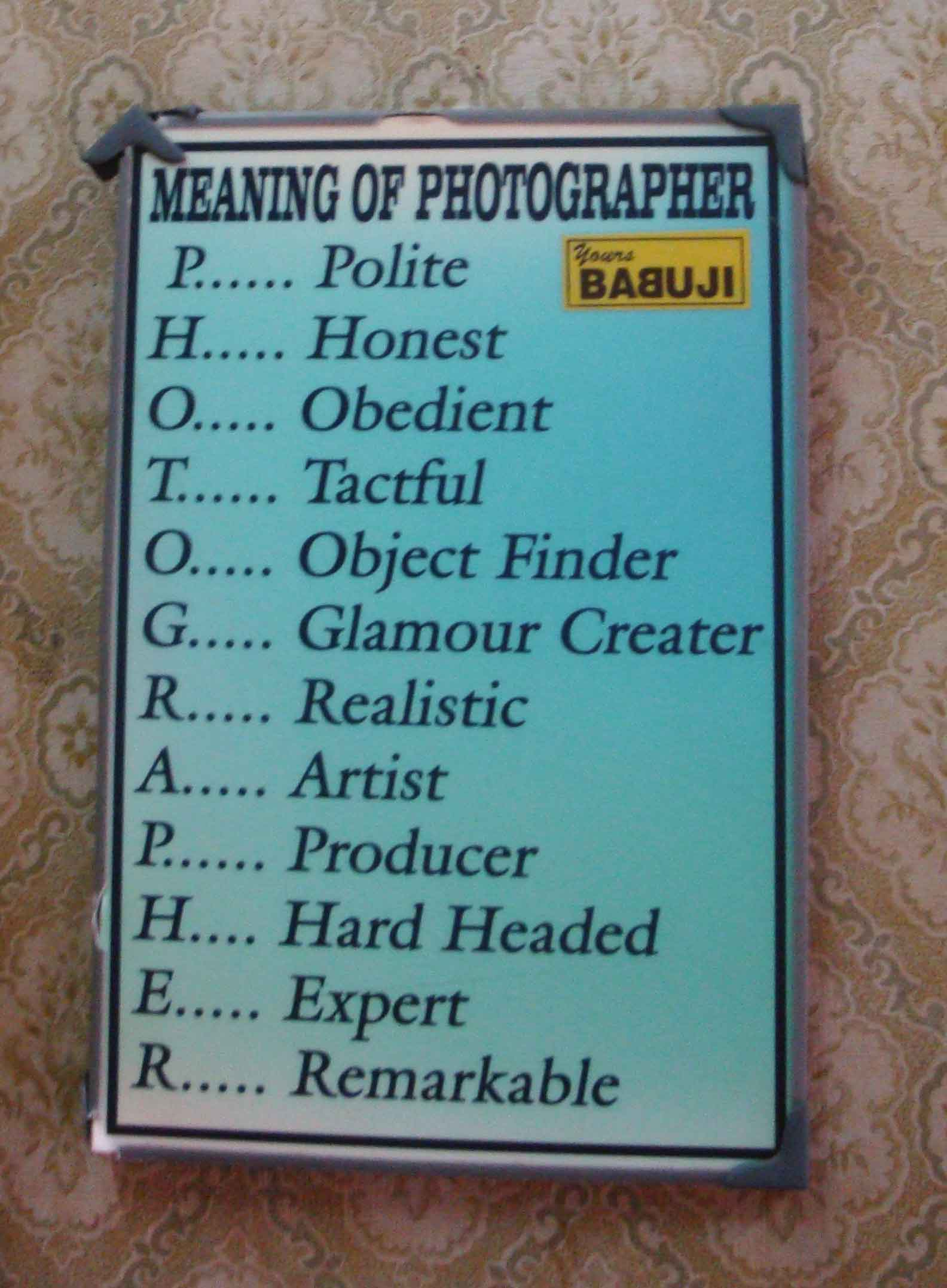 Meaning of Photographer