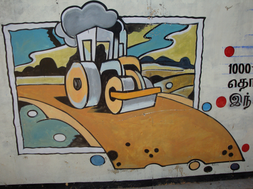 bull dozer development illustration by the government