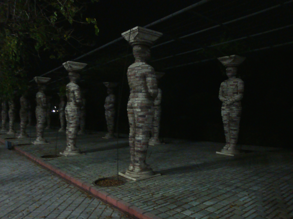 statues at night