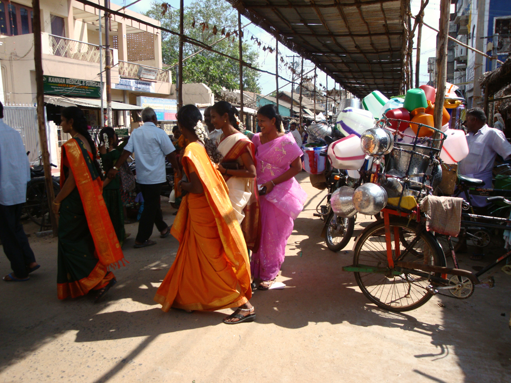 women at the temple entrance