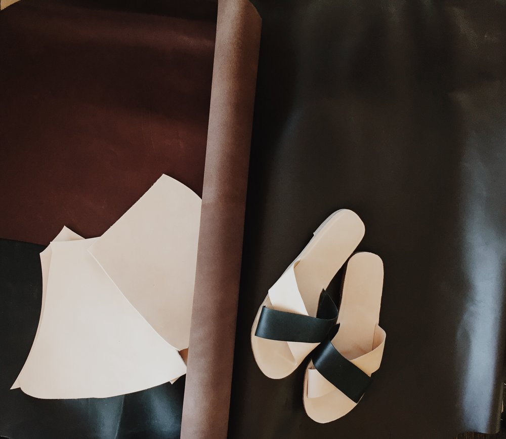 Some of the leathers we use with a pair of the Vosges black & natural slides