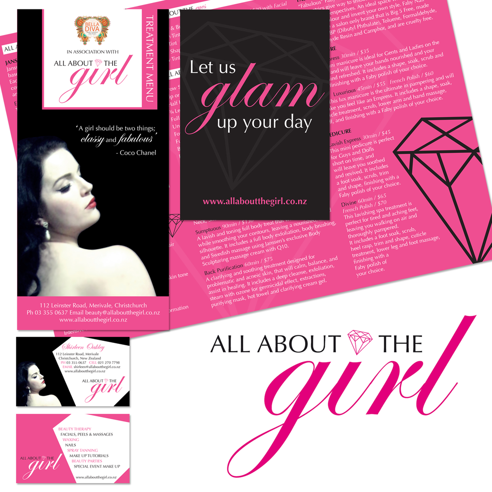LOGO DESIGN, BUSINESS CARDS, BROCHURE & POSTERS FOR ALL ABOUT THE GIRL BEAUTY THERAPY