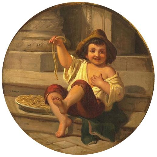 """""""Boy with Spaghetti"""" by Julius Moser, 1808"""