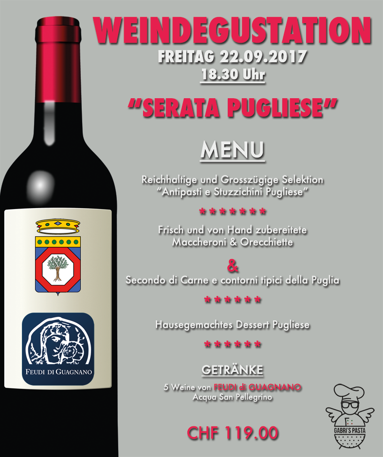 Serata Pugliese - Wine & Dine Gabri's Pasta Basel
