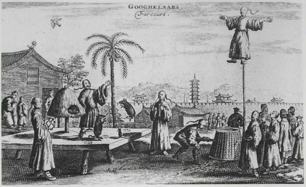 Chinese street performers seen by Johan Nieuhof in 1655-57