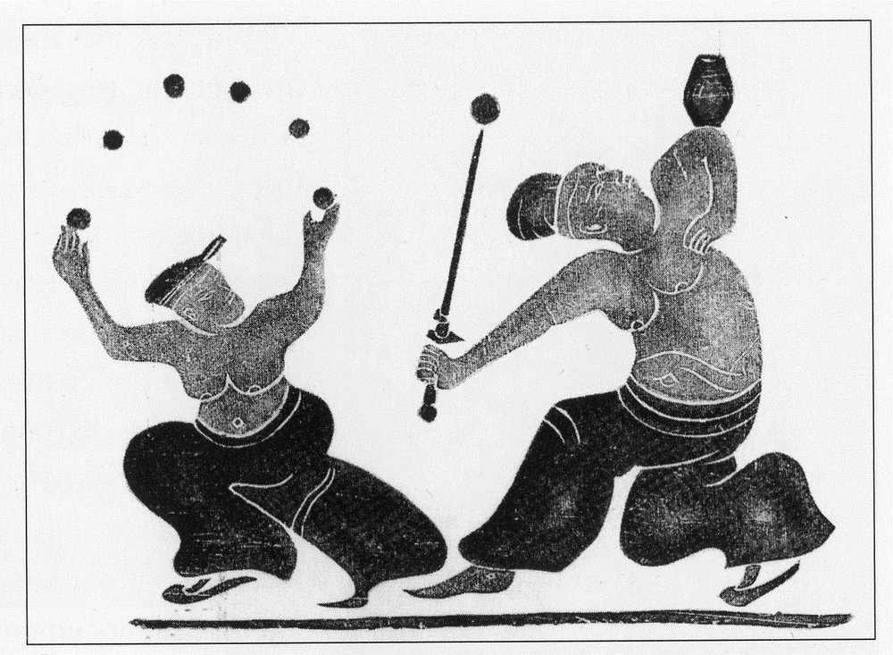 """200 BC – 200 AD – Han Dynasty, Sichuan Province – Juggler with balls and knives – Carving, stone of the """"Hundred Games."""" [source: Chinese Acrobatics Through The Ages, p15]"""