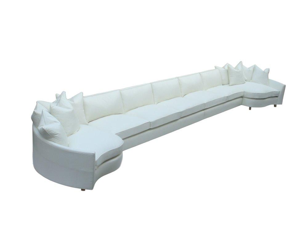6.9m long cinema sofa in ultrasuede