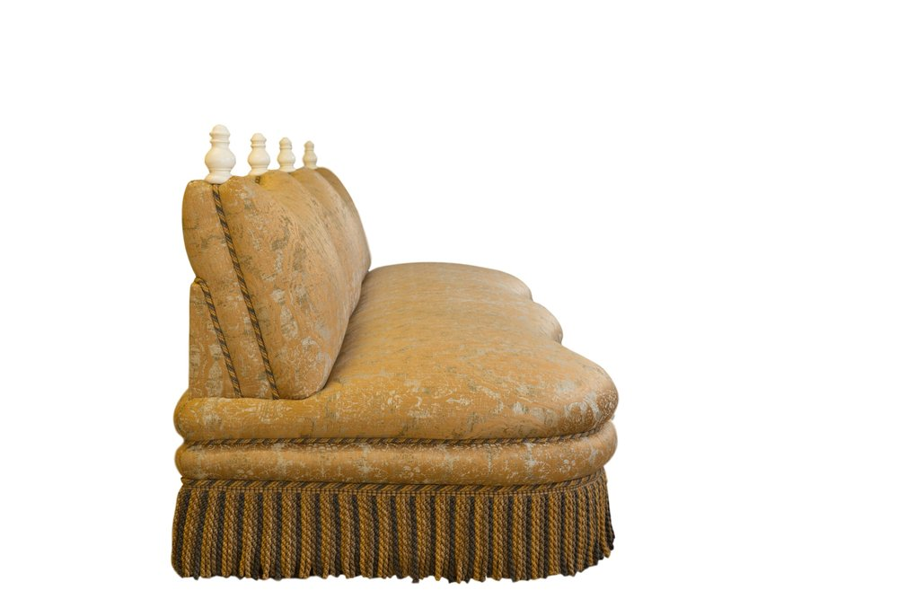 """Straight Marrakesh banquette, side view showing the """"cushions""""."""