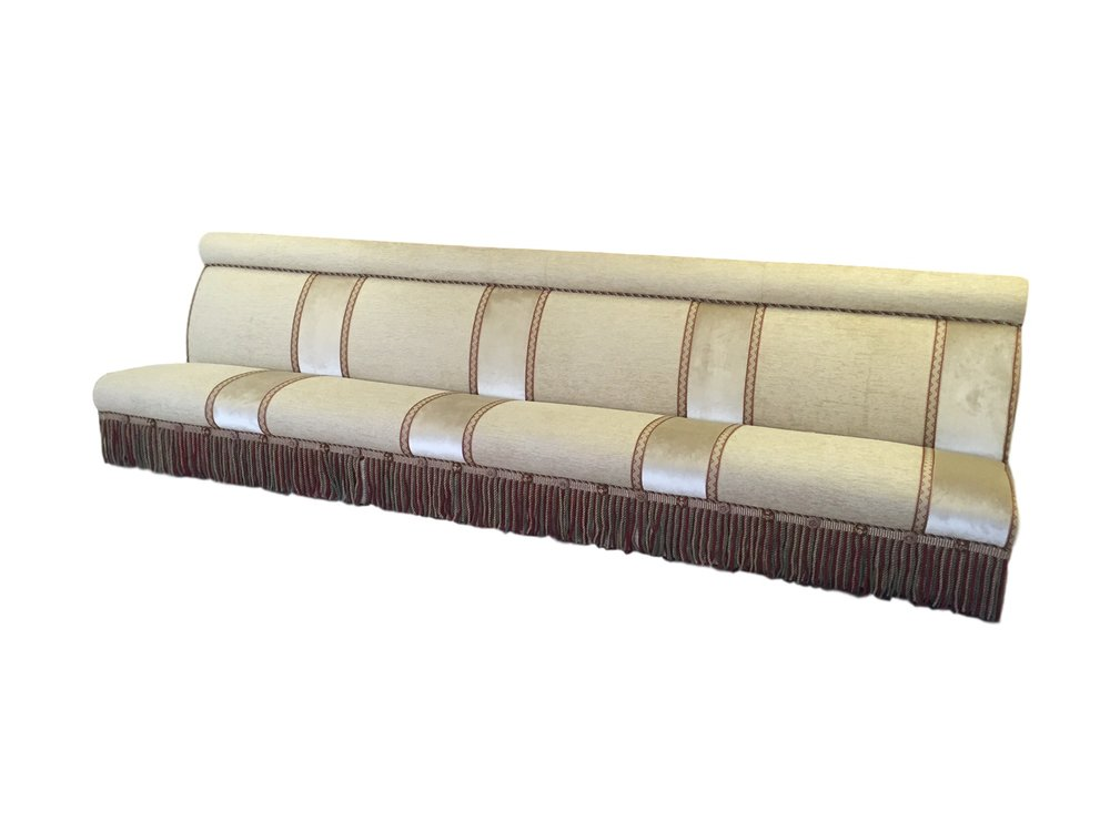 Section of 40m banquette, with bolster on top and sloped seat.