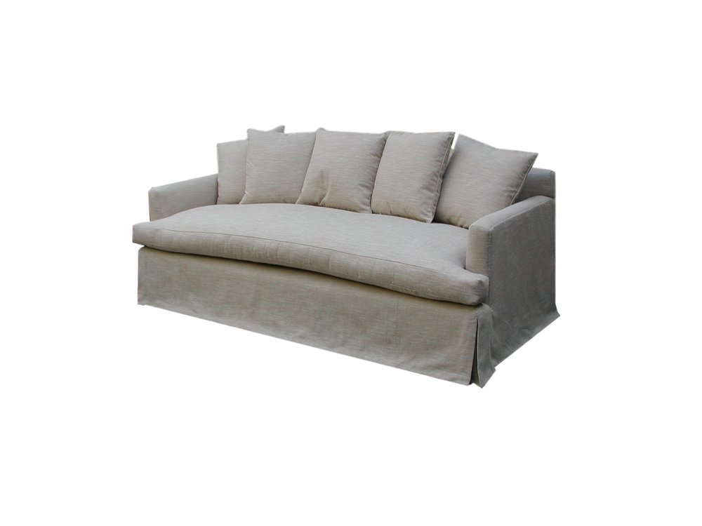 Shabby chic sofa stuffed with lux cushions