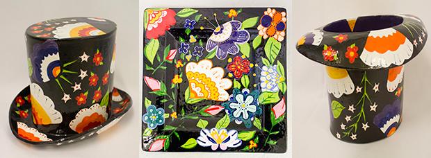 Stunning black floral design - large platter reduced to £50