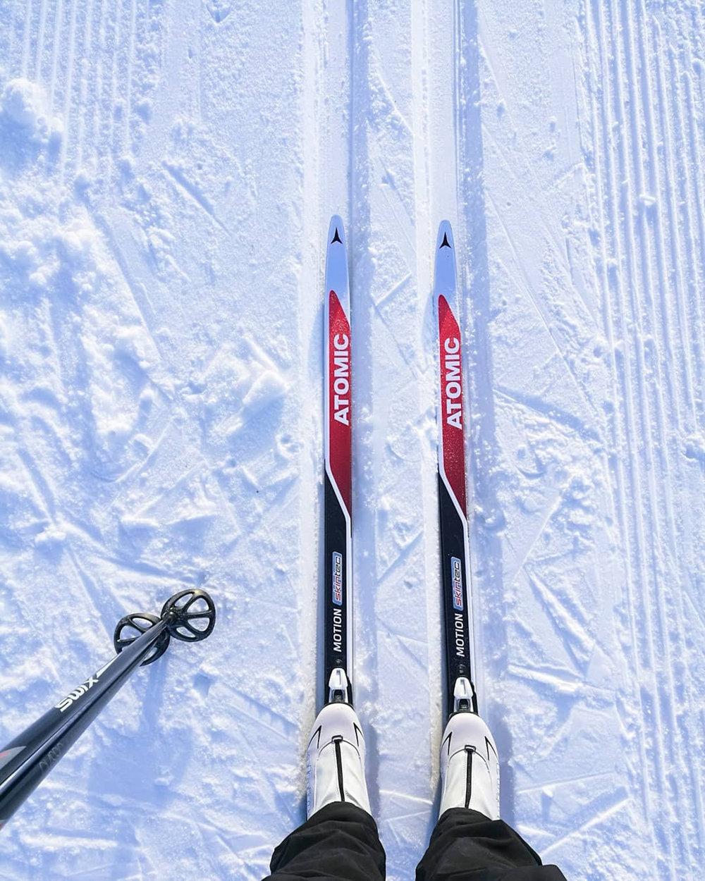 Og jeg fikk prøvd skia jeg fikk til jul, perfekte!