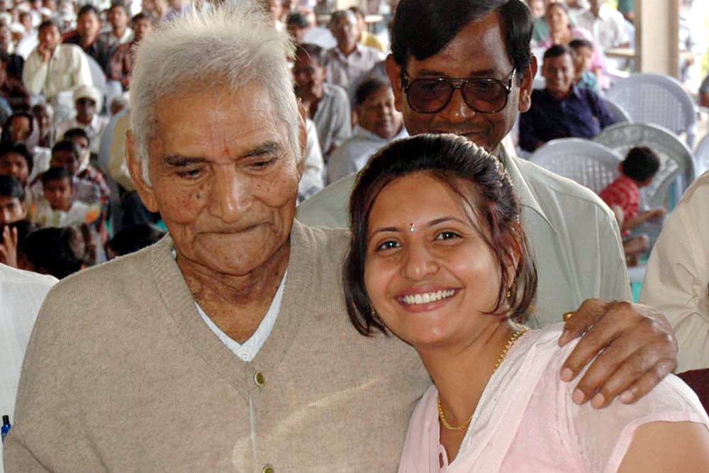 With my grandfather, the great humanitarian Baba Amte