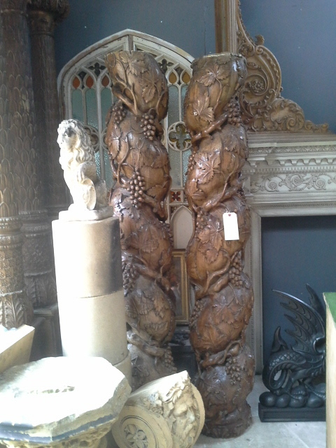 Pair of fabulous, carved Spanish Solomonic columns.  SOLD