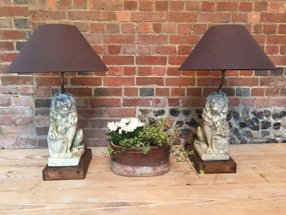 A pair of leonine table lamps. Unique! 85cm high. £495 the pair.