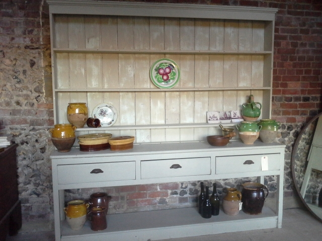 Painted Victorian pot board dresser removed from an old rectory 216cms long, 220 high SOLD