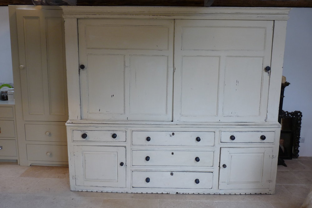 Georgian Housekeeper's Cupboard from a Derbyshire Farmhouse.    239 cm wide. £3750