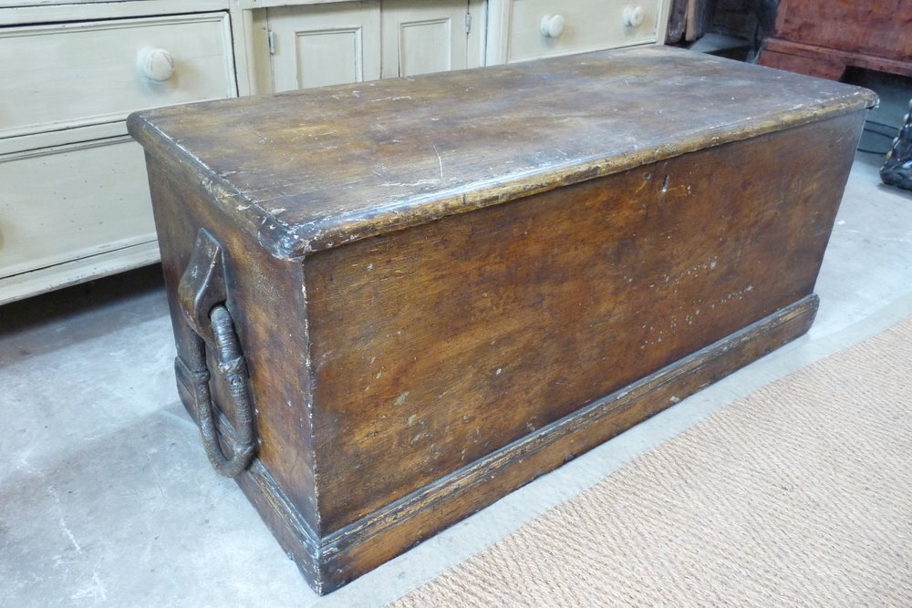 "Early 19th Century sailors trunk with original graining, fabulous ""turk's head"" handles and original painted interior"