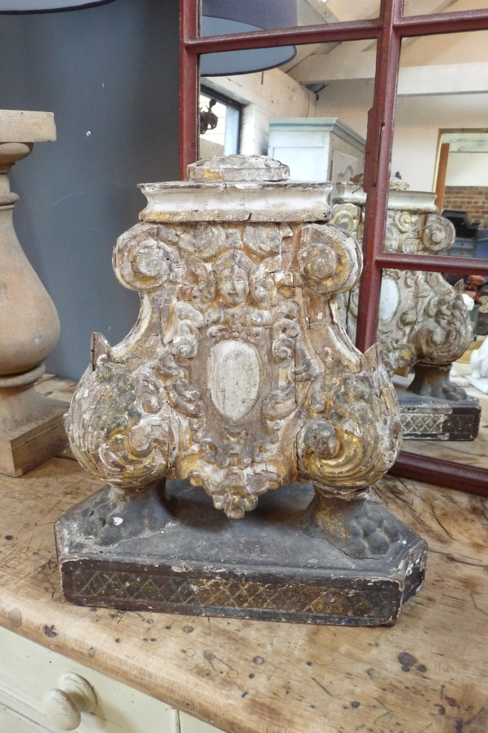 Stunning base of an Italian 17th Century church candle stick. £695.