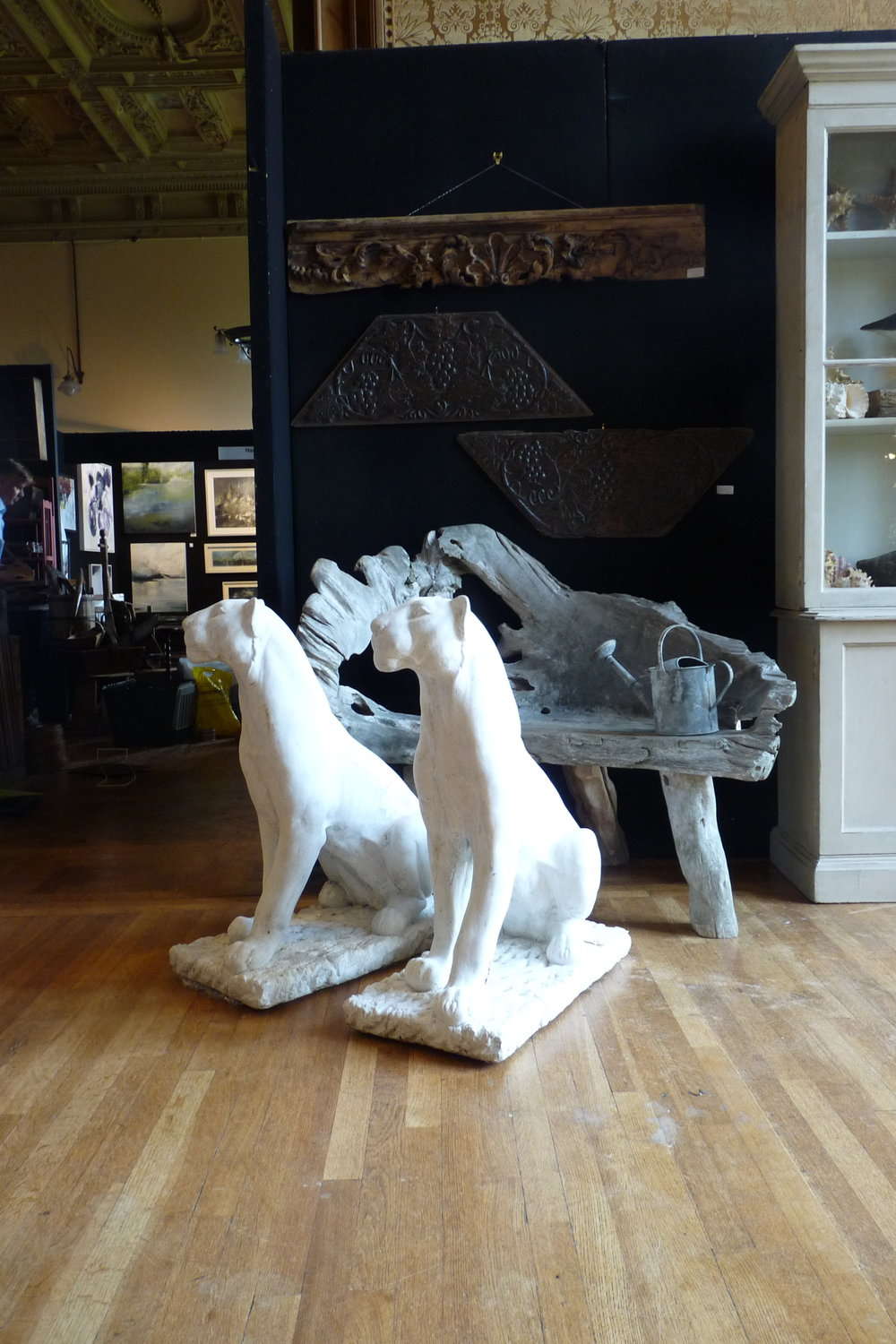 A pair of Italian marble panthers. £3,950.