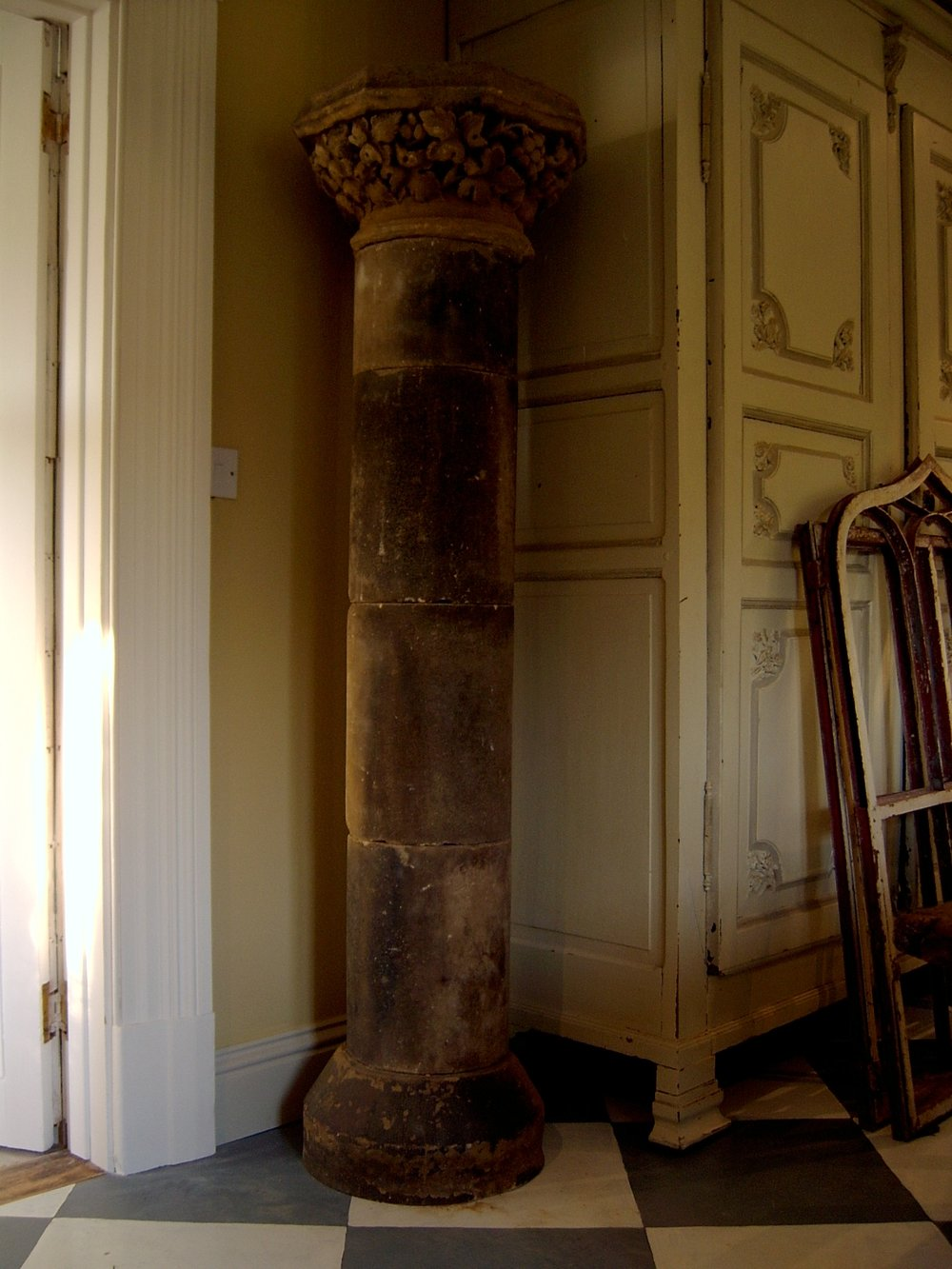 Pair of stone columns with carved capitols 6 feet high £1400 pair