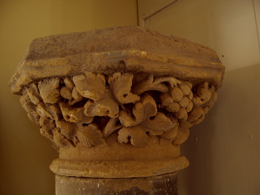 Carved sandstone capitol , one of a pair of columns in sections £1400 pair