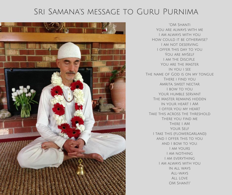 Sri Samana's message to Guru Purnima