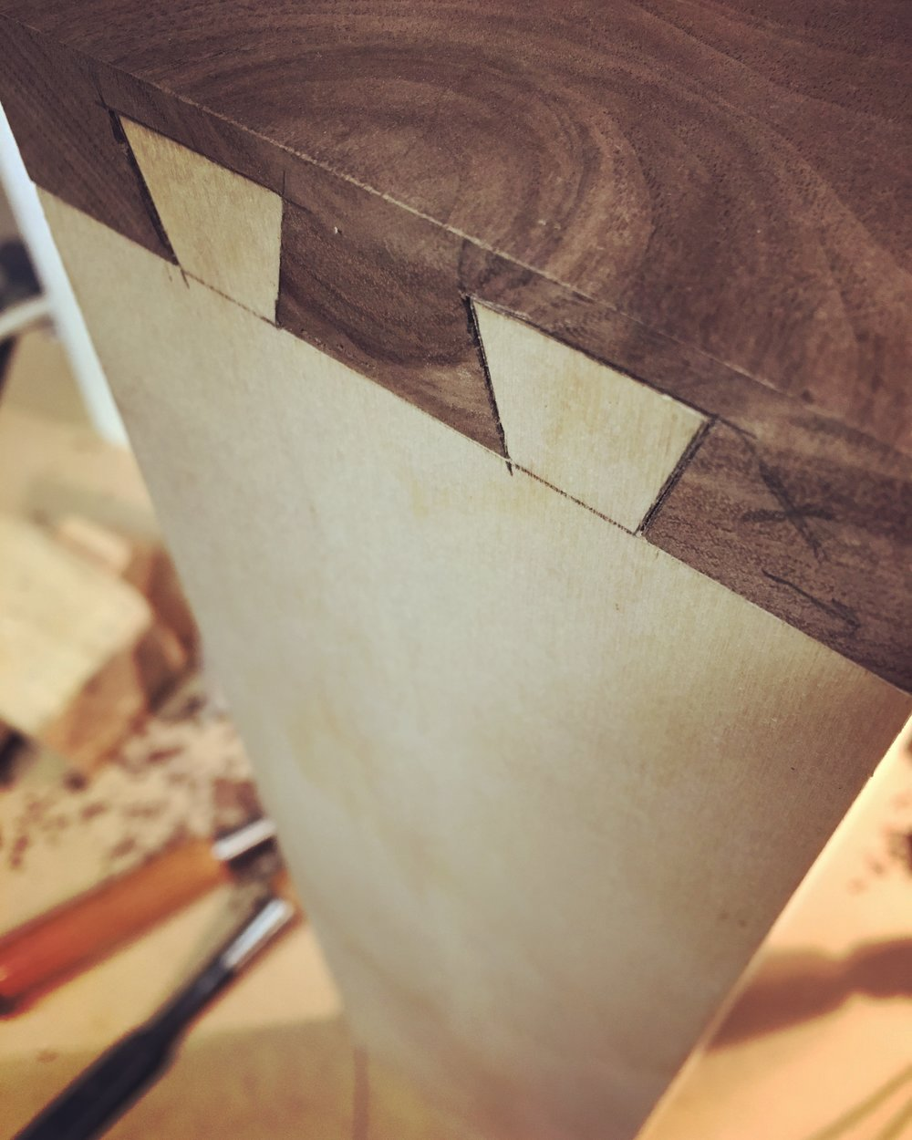 Work in progress - fitting the hidden dovetails