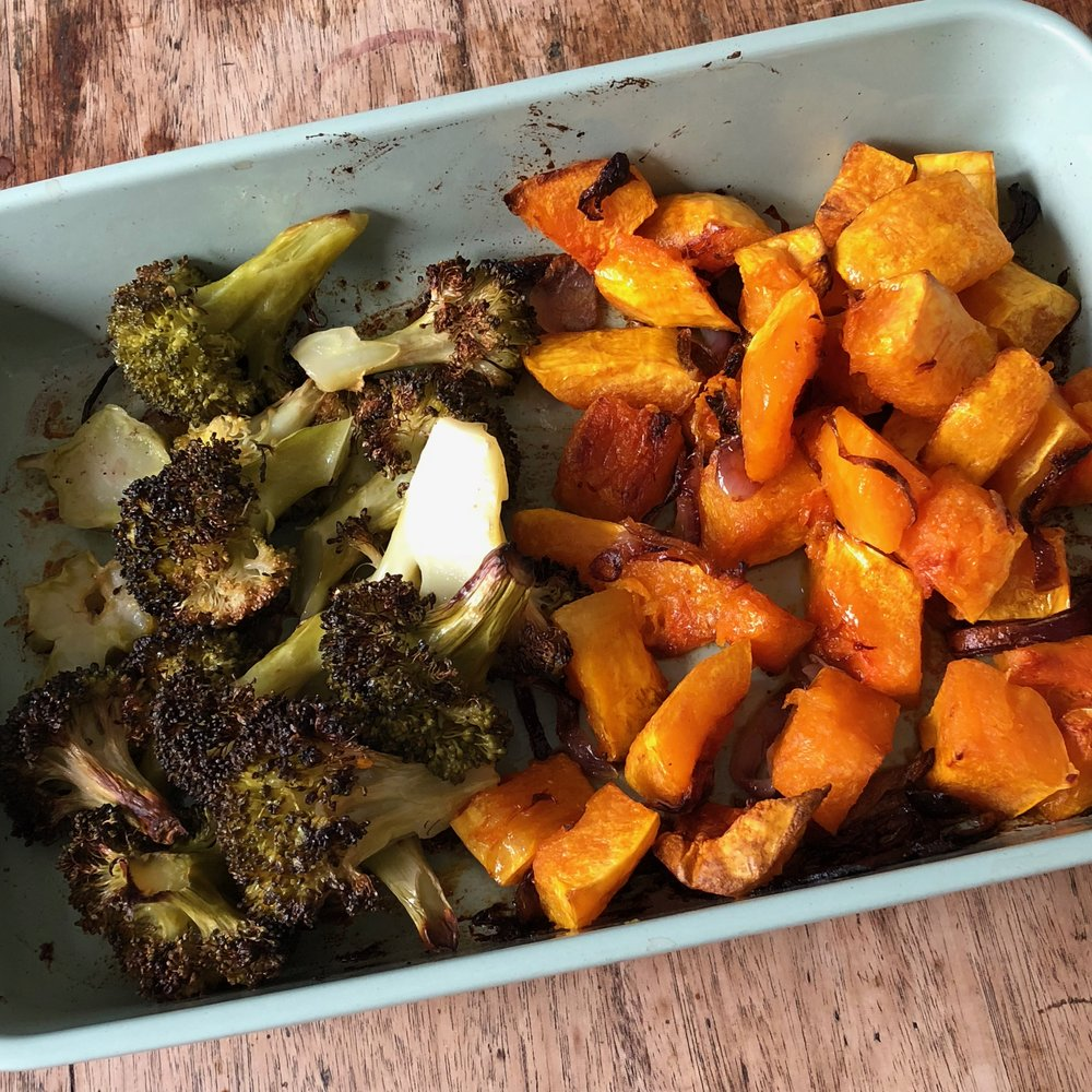 A simple dish of roasted broccoli and butternut squash (Tip: the broccoli was added to the oven 30 mins after the squash, so they both had the adequate time in the oven)