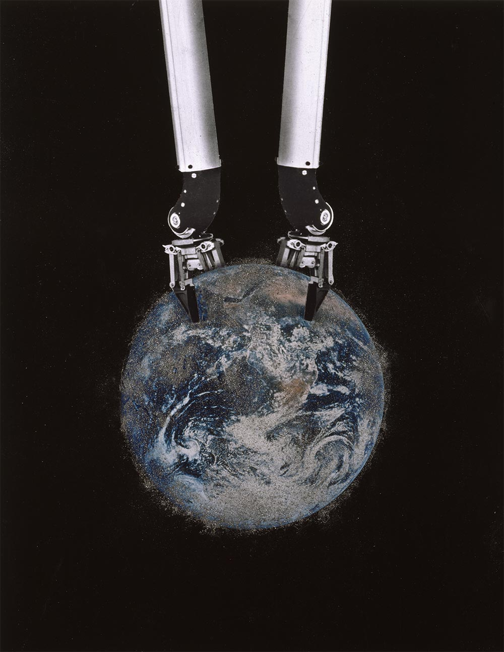 Earth 7 - PhotomontageGelatin silver, cibachromeprint and iron filings on card1990First published:New Statesman and Society,21st September 1990Catalogue: PK/71