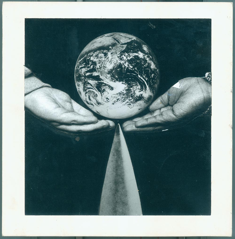 Earth - PhotomontageGelatin silver print, gouacheand ink, on card1988First published:The Gaia Peace Atlas,Pan Books,1988Catalogue: PK/209