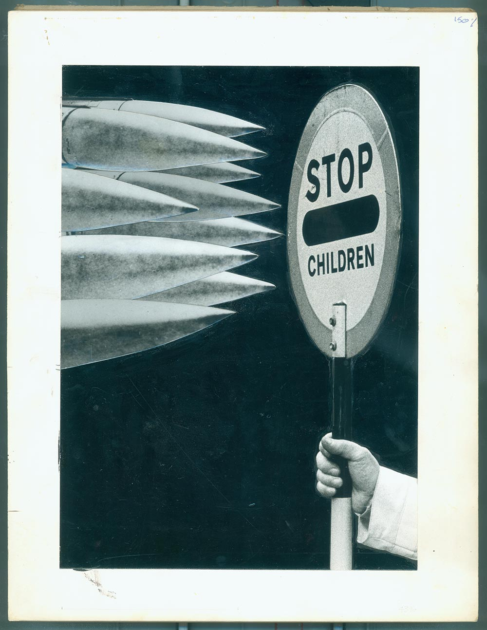 Stop Children 1 - PhotomontageGelatin silver prints andink on card1982First published: Flyer forSchools Against the Bomb,1982Catalogue: PK/25