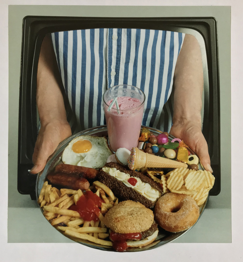 Junk Food - PhotomontageCibachrome print on card1991 First published:New Scientist, 11th May 1991 Catalogue: PK/198
