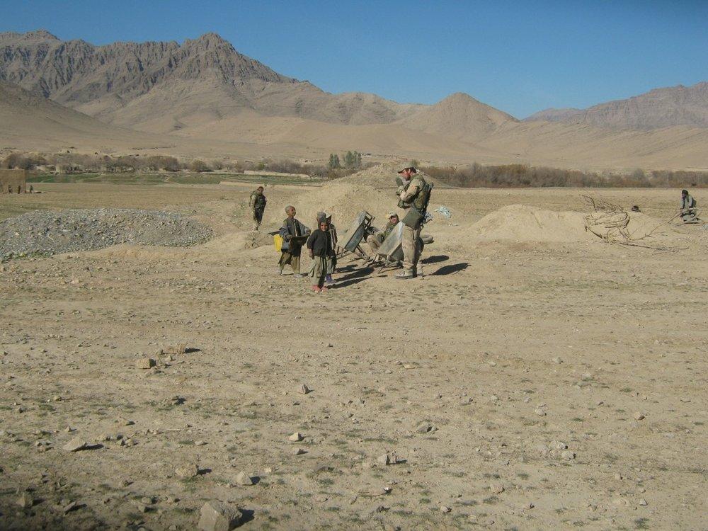 De omgeving van kamp Coyote.