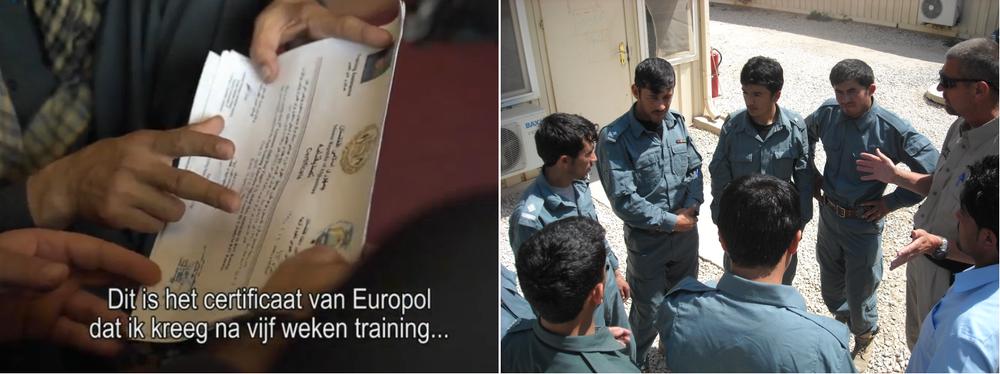 Link: In de documentaire toont oud-student van de politieacademie Abdulhaq het certificaat dat Nederlandse trainers hem na de EUPOL-cursus overhandigden. Rechts: een foto door Peter Metselaar, een klasje.
