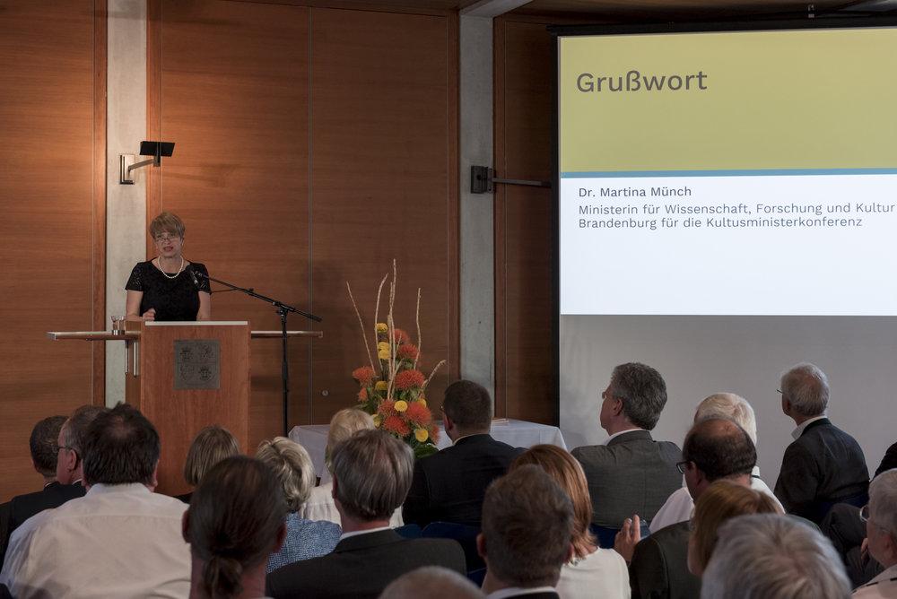 Dr. Martina Münch, Ministerin für Wissenschaft, Forschung und Kultur des Landes Brandenburg für die Kultusministerkonferenz © DUK/Christoph Löffler