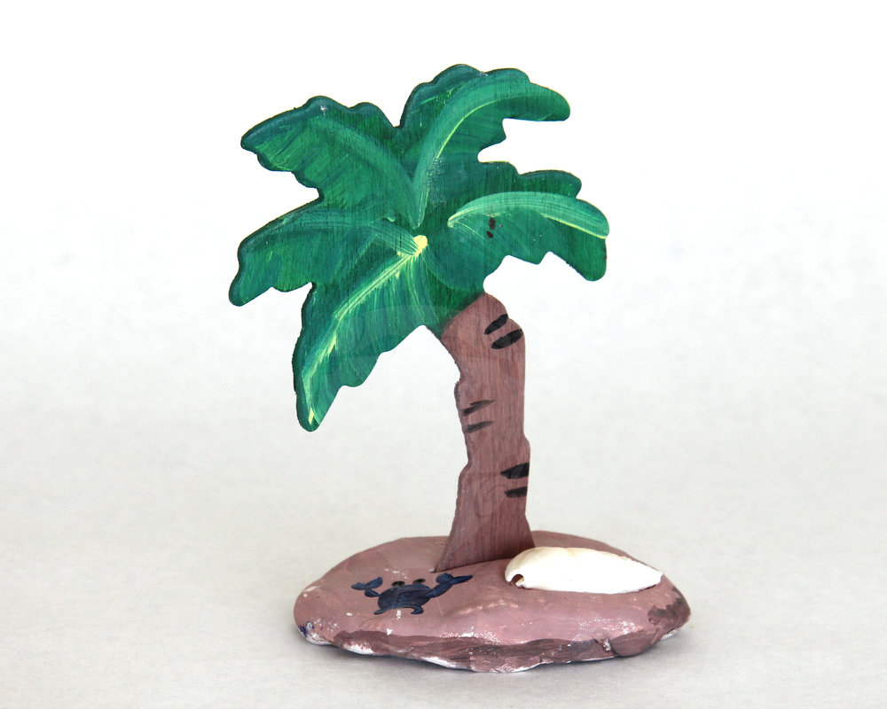 Clay & Wood Palm Tree