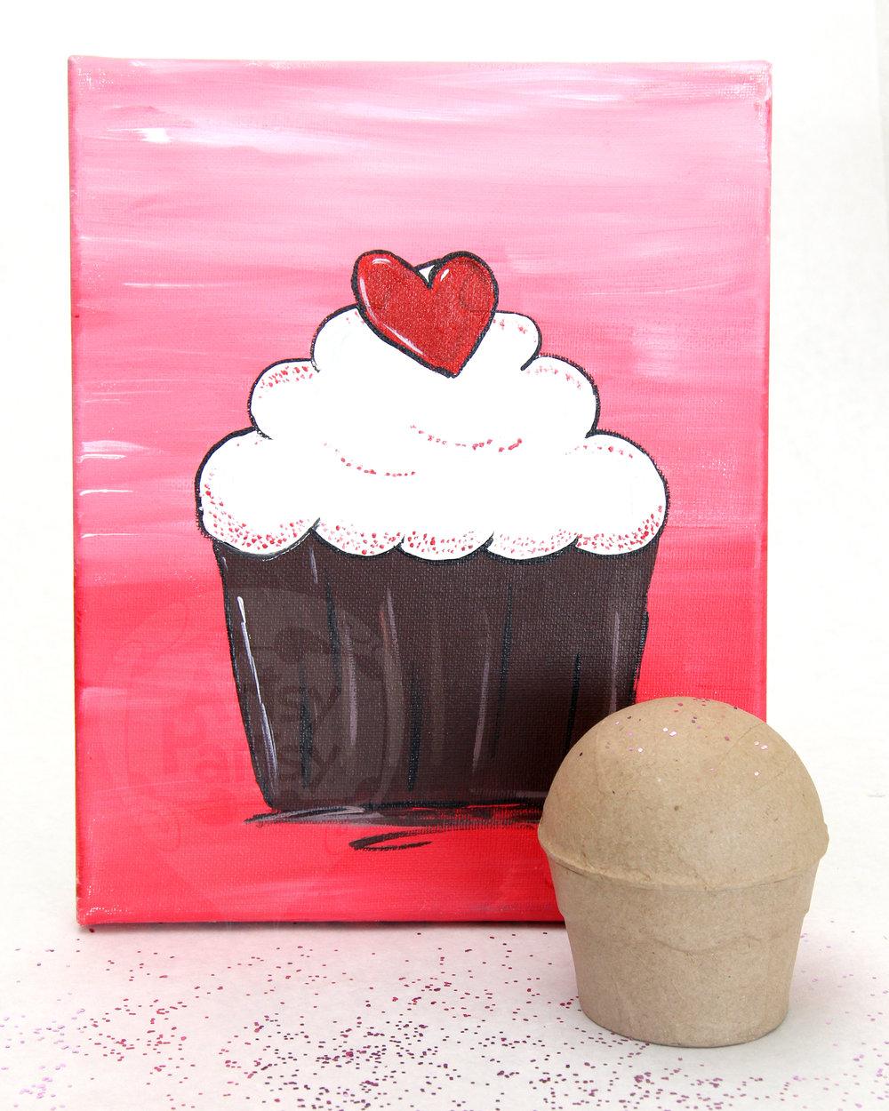 Paper Mache & Canvas Cupcake