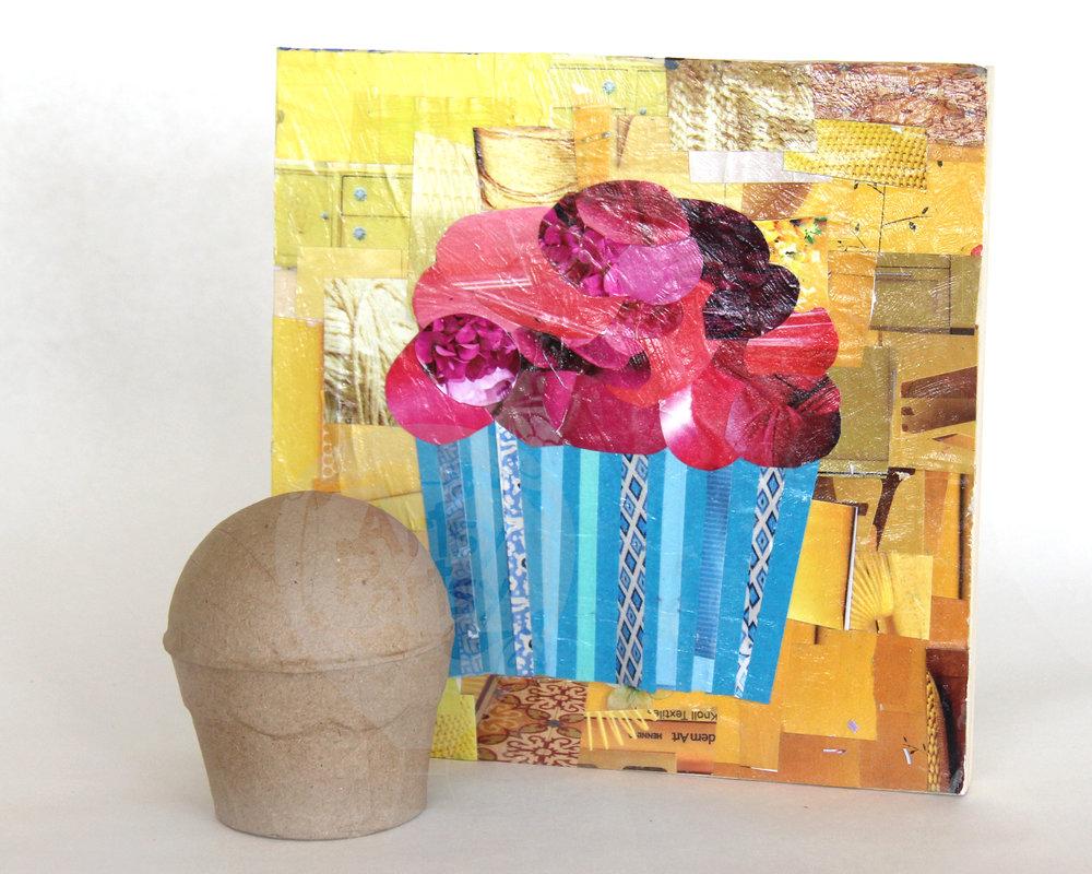 Mosaic & Paper Mache Cupcakes