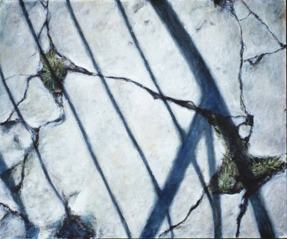 Exterior with cracks  Oil on paper 38x46 cm 2002