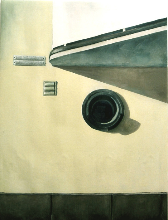 Exterior with round window  Oil on canvas 130 x 110 cm 2004