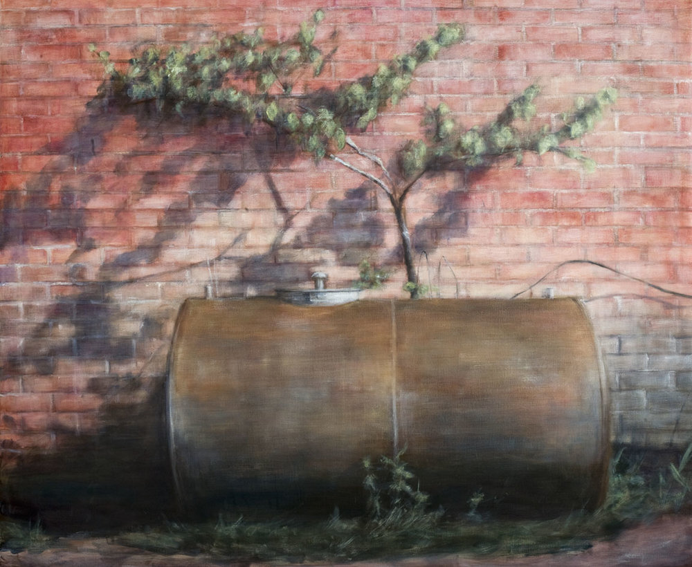 Exterior with oil barrel  Oil on canvas 163x200 cm 2009