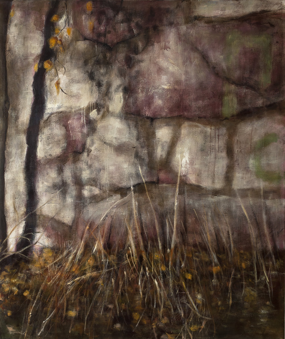 Exterior with stone wall  Oil on canvas 130x110 cm 2010