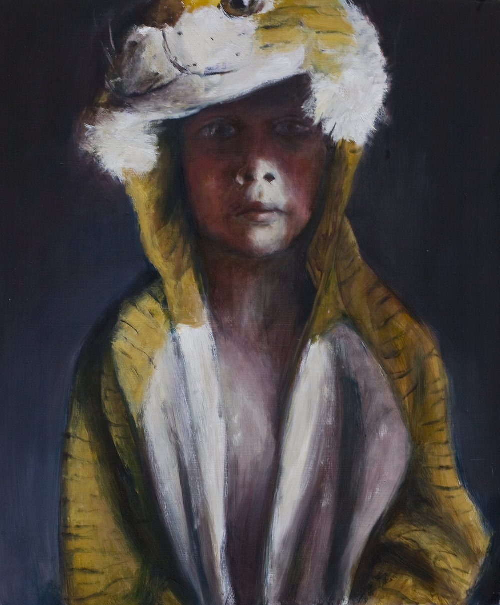 Boy with tiger suit  Oil on board 55x46 cm 2008