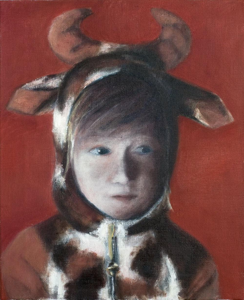 Girl with cow costume  Oil on canvas 46x38 cm 2008