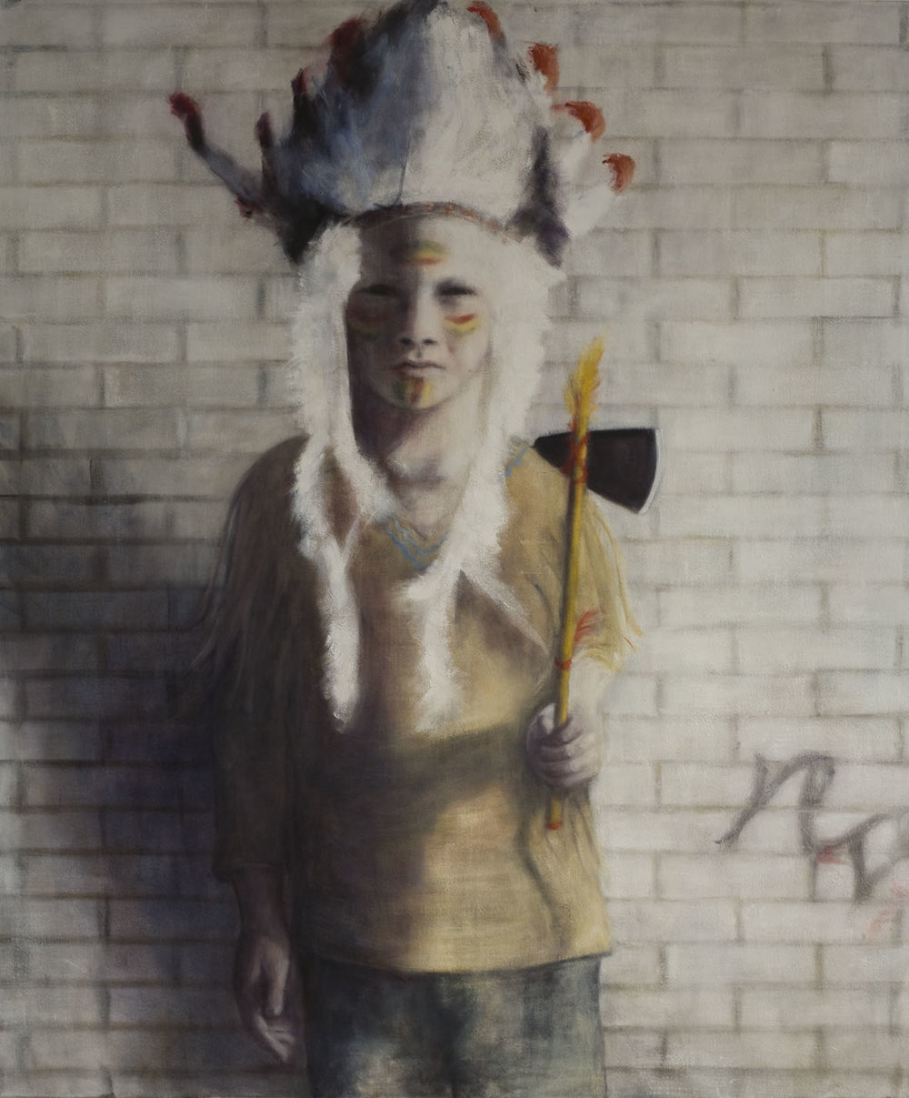Boy with Indian costume  Oil on canvas 132x110 cm 2009
