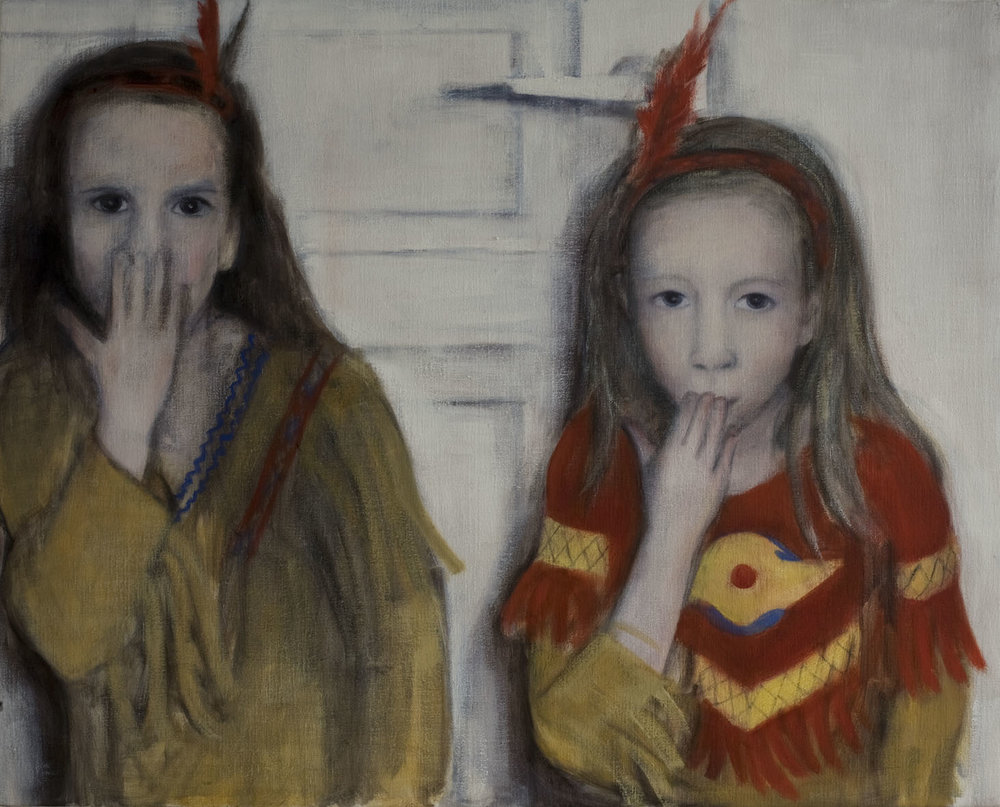Girls with Indian costumes  Oil on canvas 80x100 cm 2009