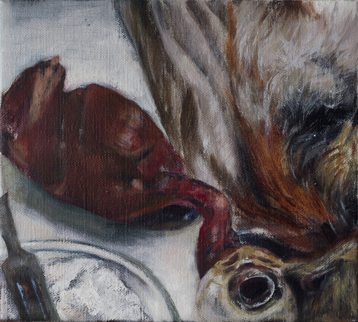 Display (Taxidermy I)  Oil on canvas ca 27x27 cm 2013