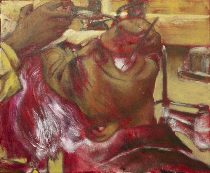Sarjasta Välskärin (kertomattomat) kertomukset #4  Akryyli ja öljy kankaalle 38 x 46cm 2014